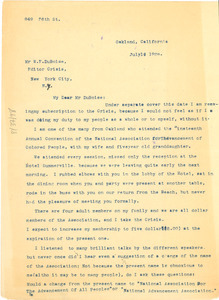 Letter from M. G. Cooksey to W. E. B. Du Bois