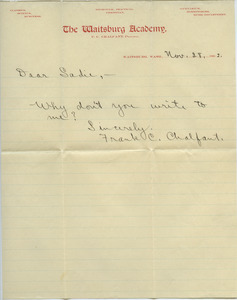 Letter from Frank C. Chalfant to Sadie Kessel