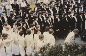 1961 Graduates Waiting at the Commencement.