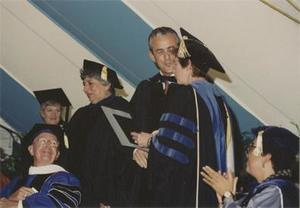 Leon A. Gorman on the Commencement Stage.