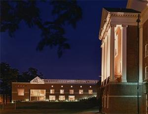 Balfour-Hood Center and the Chapel at Night.