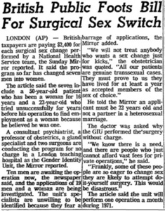 British Public Foots Bill For Surgical Sex Switch