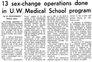 13 sex- change operations done in U.W. Medical School program