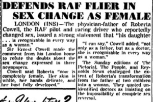 Defends RAF Flier In Sex Change as Female