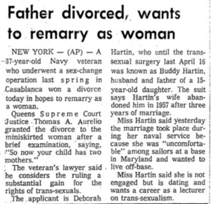 Father Divorced, Wants to Remarry as Woman