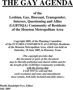 The Gay Agenda of the Lesbian, Gay, Bisexual, Transgender, Intersex, Questioning, and Allies (LGBTIQA) Community of Residents of the Houston Metropolitan Area