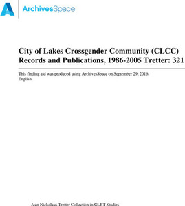 City of Lakes Crossgender Community (CLCC) Records and Publications, 1986-2005
