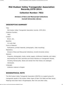 Guide to the Mid-Hudson Valley Transgender Association Records, 1960-2014