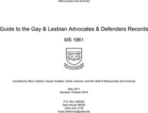 Guide to the Gay & Lesbian Advocates & Defenders Records