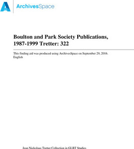 Boulton and Park Society Publications, 1987-1999