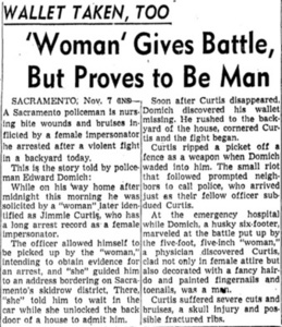 'Woman' Gives Battle, But Proves to Be Man