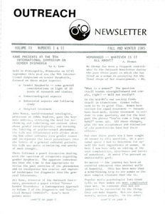 Outreach Newsletter Vol. 9 Nos. 1 & 2 (Fall/Winter 1985)