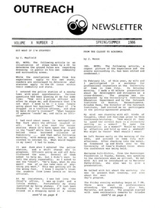 Outreach Newsletter Vol. 10 No. 2 (Spring/Summer 1986)
