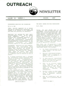 Outreach Newsletter Vol. 11 No. 1 (Winter 1987)