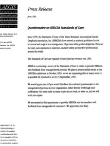 Questionnaire on HBIGDA Standards of Care