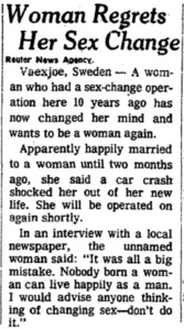 Woman Regrets Her Sex Change
