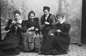 Marie Høeg and Three Others Drinking and Playing Cards