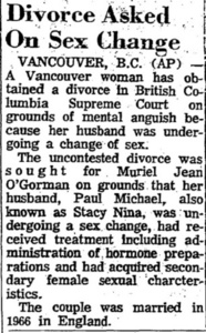 Divorce Asked on Sex Change