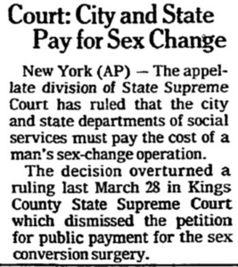 Court: City and State Pay for Sex Change
