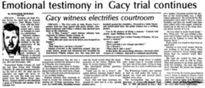 Emotional Testimony in Gacy Trial Continues