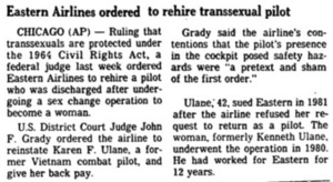 Eastern Airlines Ordered to Rehire Transsexual Pilot