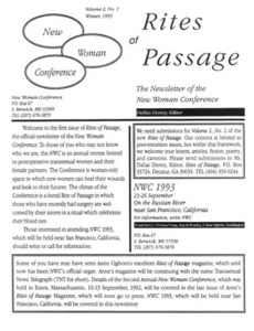 Rites of Passage: The Newsletter of the New Woman Conference, Vol. 2 No. 1 (Winter,1993)