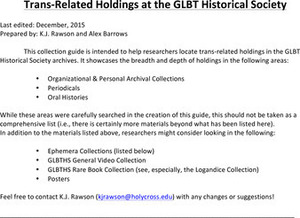 Trans-Related Holdings at the GLBT Historical Society