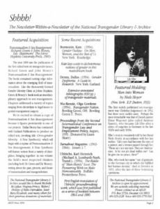 Shhhh!: The Newsletter-Within-a-Newsletter of the National Transgender Library & Archive Vol. 1 No. 2 (September, 1994)