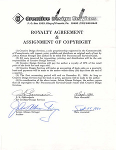 Royalty Agreement & Assignment of Copyright for The Transsexual's Survival Guide
