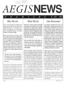 AEGIS News, No. 1 (May, 1994)