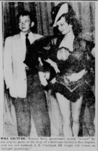 Tamara Rees Poses on Burlesque Stage with Husband, J.E. Courtland, III (July 29, 1955)