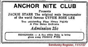 Anchor Nite Club Presents Jackie Starr
