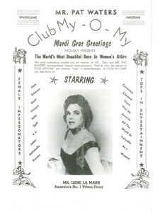 Mr. Pat Waters Club My-O-My Proudly Presents The World's Most Beautiful Boys in Women's Attire