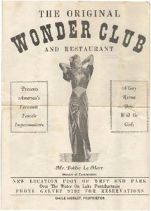 The Original Wonder Club and Restaurant Presents America's Foremost Female Impersonators, A Gay Revue: Boys Will Be Girls