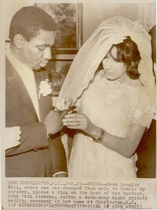 Newspaper Clipping of Dawn Langley Hall and John Paul Simmons' Wedding