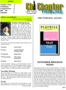 Chi Chapter Tribune Vol. 38 Iss. 11 (November, 1999)