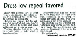 Dress Law Repeal Favored