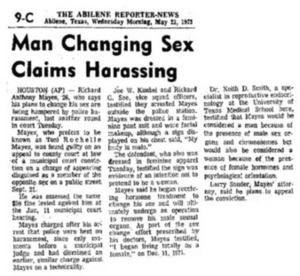 Man Changing Sex Claims Harassing