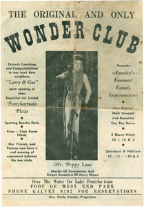 The Original and Only Wonder Club Presents American's Foremost Female Impersonators