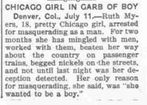 Chicago Girl in Garb of Boy