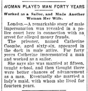 Woman Played Man Forty Years