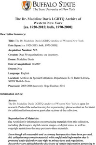 The Dr. Madeline Davis LGBTQ Archive of Western New York