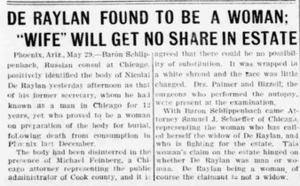 """De Raylan Found to Be a Woman; """"Wife"""" Will Get No Share in Estate"""
