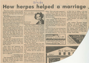 How Herpes Helped a Marriage (March 19, 1983)