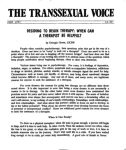 The Transsexual Voice (June 1991)