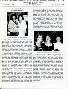 Alpha Zeta & A Rose Newsletter Vol. 3 No. 12 (November 15, 1987)