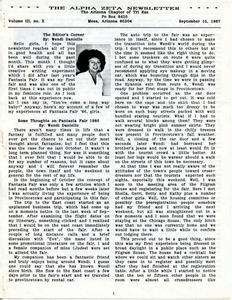 The Alpha Zeta Newsletter Vol. 3 No. 10 (September 15, 1987)