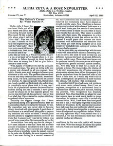 Alpha Zeta & A Rose Newsletter Vol. 4 No. 5 (April 15, 1988)