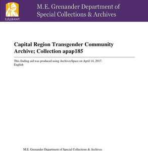 The Capital District Transgender Community Archive Collection