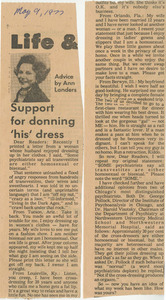 Support for Donning 'His' Dress (May 9, 1977)